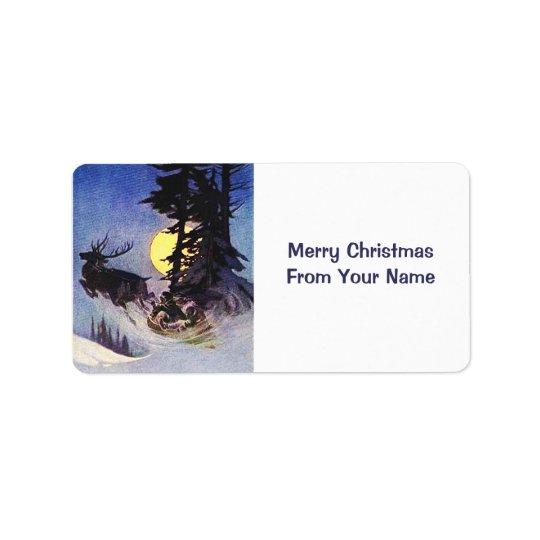 Vintage Santa Sleigh and Reindeer Gift Tag Label