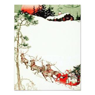 Vintage Santa Sleigh and Reindeer in Snow Card