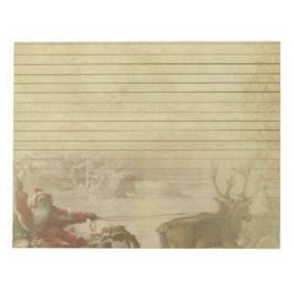 Vintage Santa & Sleigh Note Pad Paper