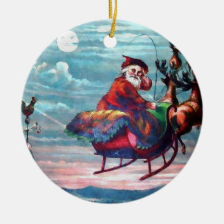 Vintage Santa Sleigh Print Christmas Ornament