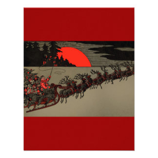 Vintage Santa Sleigh Red Moon Personalized Invitations
