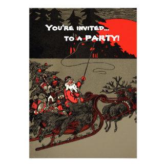 Vintage Santa Sleigh Red Moon Custom Announcement