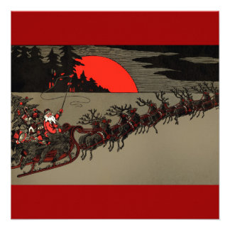 Vintage Santa Sleigh Red Moon Personalized Invites