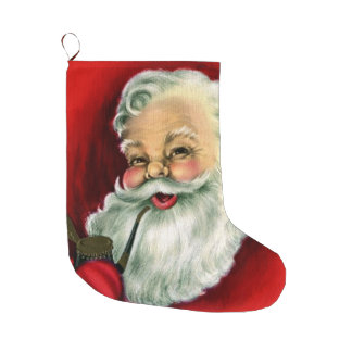 Vintage Santa Smoking Pipe Christmas Stocking