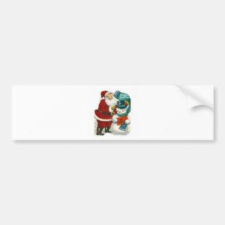 vintage Santa snowman Christmas winter holiday art Bumper Sticker