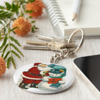 vintage Santa snowman Christmas winter holiday art Basic Round Button Key Ring