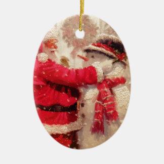 Vintage Santa Snowman Scene Christmas Ornament