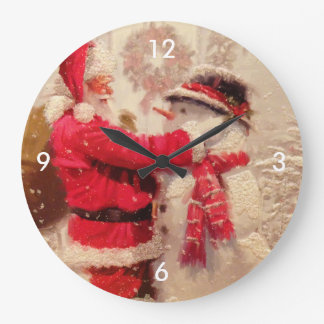 Vintage Santa Snowman Scene Large Clock