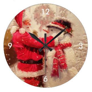 Vintage Santa Snowman Scene Wall Clocks
