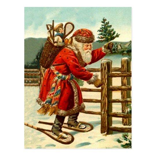 Vintage Santa snowshoe woodland rustic trekking Postcard