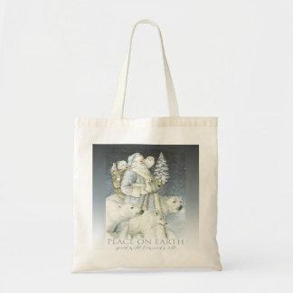 Vintage Santa Snowy Forest Winter Animals Canvas Bags
