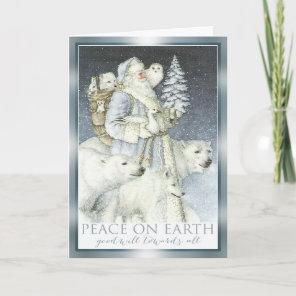 Vintage Santa Snowy Forest Winter Animals Holiday Card