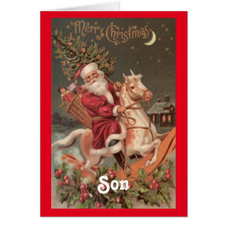 Vintage Santa Son Christmas Greeting Card