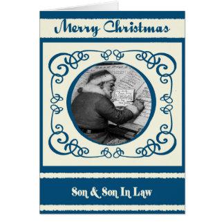 Vintage Santa Son & Son In Law Christmas Card