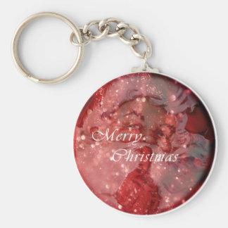 Vintage Santa Sparkles Basic Round Button Key Ring