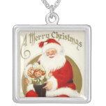 Vintage Santa Square Sterling Silver Necklace