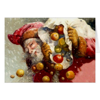 Vintage Santa w/ Sack of Apples Apple Antique Card