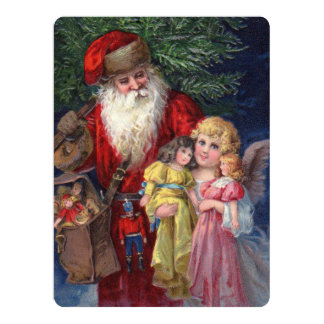 Vintage Santa with Angel and Toys 17 Cm X 22 Cm Invitation Card