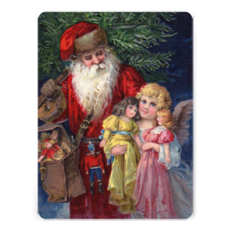 Vintage Santa with Angel and Toys Invitations