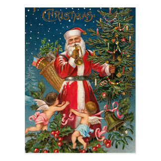 Vintage Santa with Angels Postcard