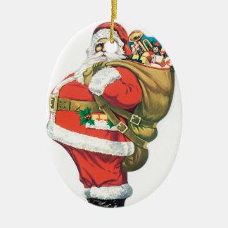 Vintage Santa with Bag of Toys Ceramic Oval Decoration