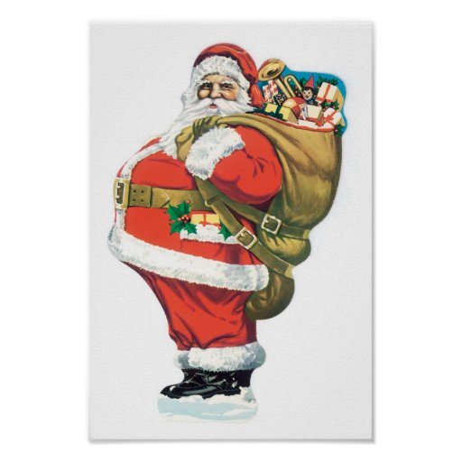 Vintage Santa with Bag of Toys Poster