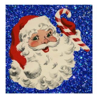 vintage santa with candy cane poster