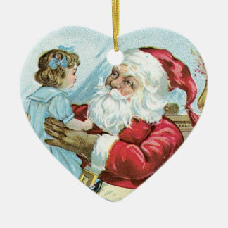 Vintage Santa with Child - heart Ceramic Heart Decoration