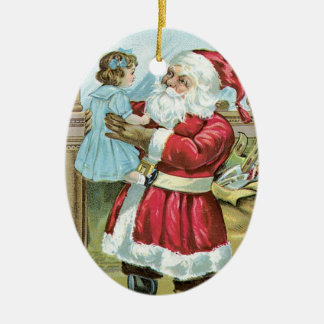 Vintage Santa with Child - oval Christmas Ornament