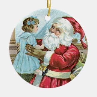 Vintage Santa with Child - round Round Ceramic Decoration