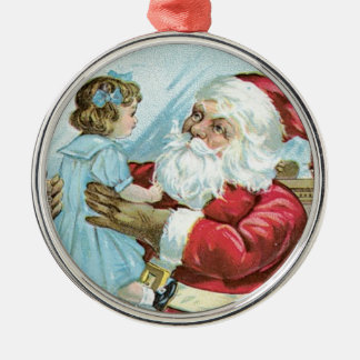 Vintage Santa with Child Silver-Colored Round Decoration