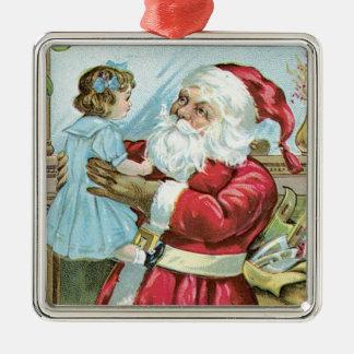 Vintage Santa with Child - square Silver-Colored Square Decoration
