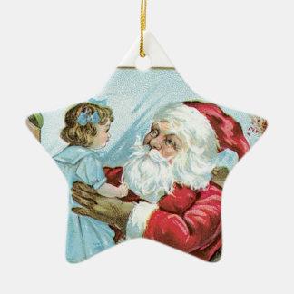Vintage Santa with Child - star Ceramic Star Decoration
