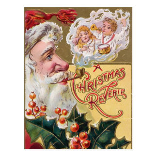 Vintage Santa with Children and Holly Postcard