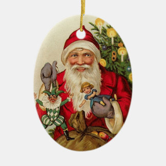 Vintage Santa with Doll and Joker Double-Sided Oval Ceramic Christmas Ornament