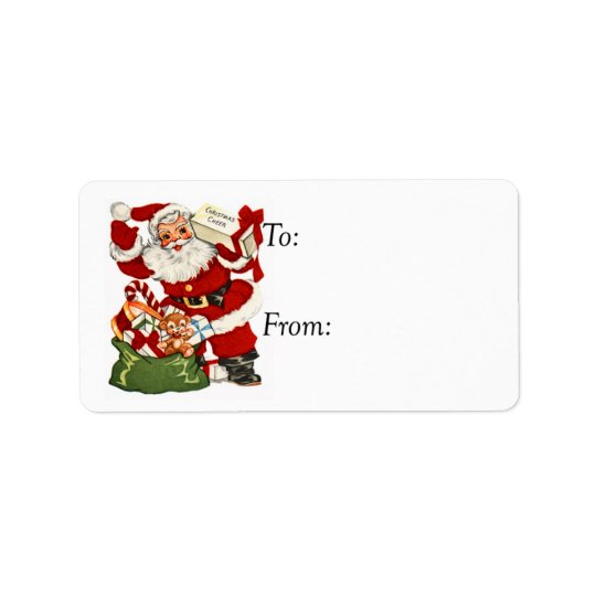 Vintage Santa With Holiday Cheer Gift Tag