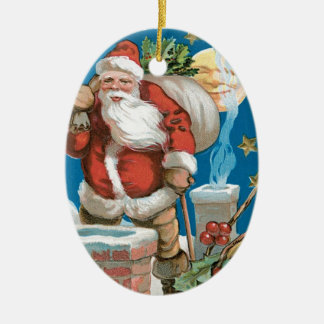 Vintage Santa with Moon Ceramic Oval Decoration