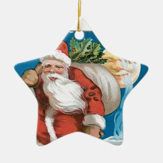 Vintage Santa with Moon Ceramic Star Decoration