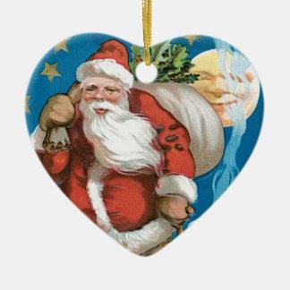 Vintage Santa with Moon - heart Ceramic Heart Decoration