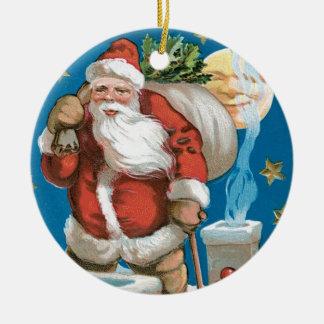 Vintage Santa with Moon - round Christmas Ornament
