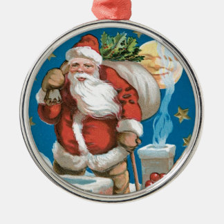 Vintage Santa with Moon Silver-Colored Round Decoration