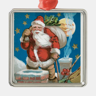 Vintage Santa with Moon Silver-Colored Square Decoration