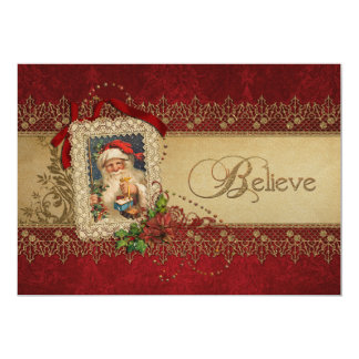 Vintage Santa with Poinsettia and Gold Lace 13 Cm X 18 Cm Invitation Card