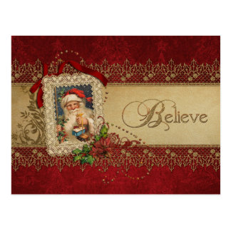 Vintage Santa with Poinsettia and Gold Lace Postcard
