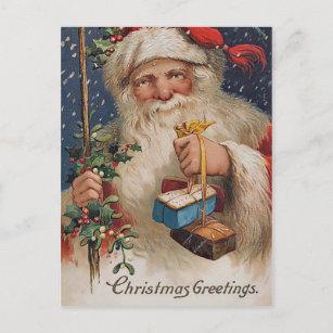 Vintage Santa with Presents Holiday Postcard