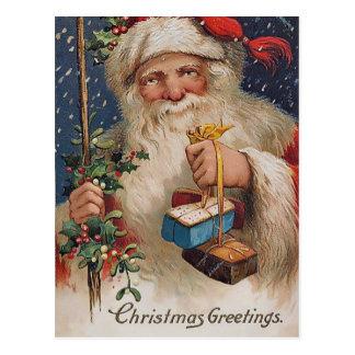 Vintage Santa with Presents Postcard