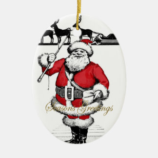 Vintage Santa with Reindeer Ceramic Oval Decoration