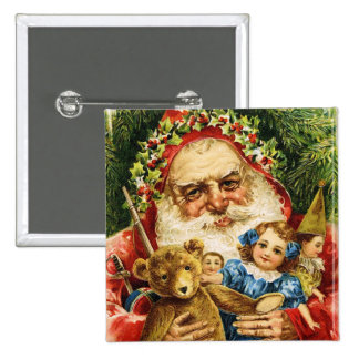 Vintage Santa with Teddy and Dolls Pinback Button
