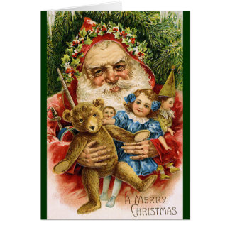 Vintage Santa with Teddy and Dolls Card