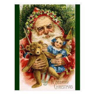 Vintage Santa with Teddy and Dolls Postcard